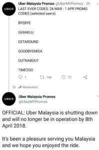 Uber's Last Promo Code in Malaysia (2018) - Grab Buying Over Uber